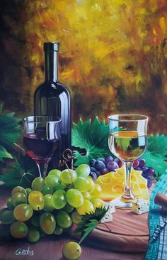 Wine Painting, Advantages Of Watermelon, Kinds Of Salad, Painting Techniques, Painting Inspiration, Mother Nature, Still Life, Watercolor Paintings, Decoupage