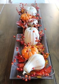 Pretty autumnal centerpiece / table runner - white gourds mini pumpkins, leaves & bittersweet vine