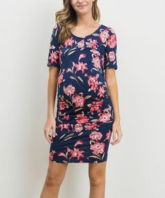 6ac250e5f178b Hello Miz Maternity | Navy & Coral Floral Ruched Maternity Dress Maternity  Work Clothes, Maternity