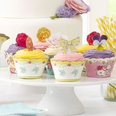 Truly Scrumptious cupcake wrappers and toppers Afternoon Tea At Home, Afternoon Tea Recipes, Mothers Day Cupcakes, Cupcake Wraps, English Summer, Garden Party Wedding, Wedding Cupcakes, Cookbook Recipes, Popular Recipes