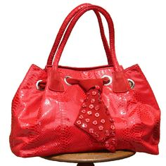 Red Oversize Alligator Leather Rockabilly Fashion Tote Bag Handbag SKU-1110151