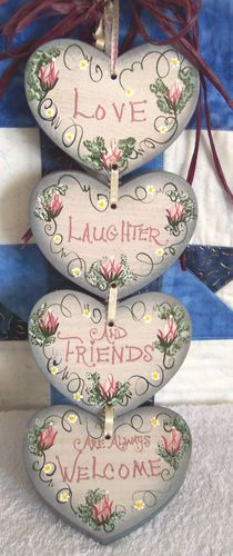 Rustic Hand Painted Country LOVE LAUGHTER & FRIENDS ARE WELCOME Wood Heart…