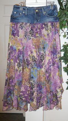 Fleurs de Provence jean skirt purple floral by bohemienneivy, $72.00