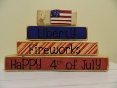 Happy Fourth of July Wooden blocks stacker summer by FayesAttic11, $23.00
