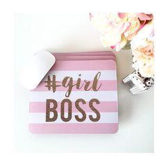 Girlboss #Girlboss Mousepad Stationary Motivational Gold Pink Inspirational quote Mouse Pad Women Gift Boss Home Decor