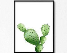 Impresión de cactus. Planta de acuarela para imprimir. Arte cactus. Arte Botánico. Arte sudoccidental. Planta verde. Arte de la decoración del hogar. Decoración de la cocina verde.