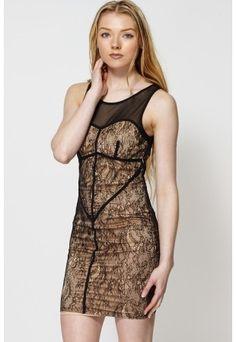 Mesh Top Lace Bodycon Dress