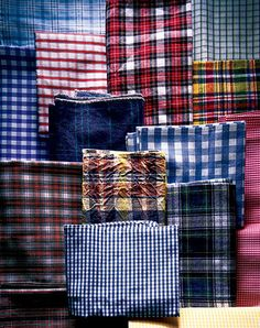 Plaids come in a variety of patterns and colors...the point is a woven linear look.