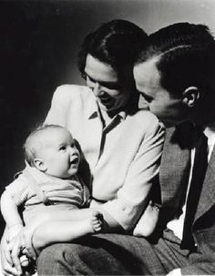 Here's Barbara and George Bush Sr. with a very tiny George W. (1947)