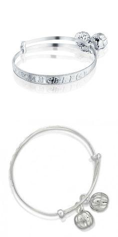 Bling Jewelry Sterling Silver Baby Rattle Alphabet Charm Bangle Bracelet 6in lQcu1Lj4aT