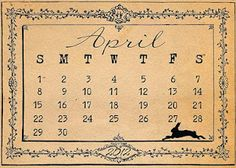 free printable April calendar