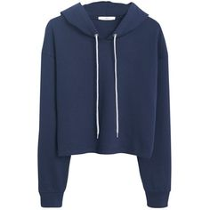 Mango Cropped Cotton Hoodie, Navy (€29) ❤ liked on Polyvore featuring tops, hoodies, sweaters, jackets, hooded pullover, cropped hoodie, navy blue hoodies, cropped hoodies and hooded sweatshirt