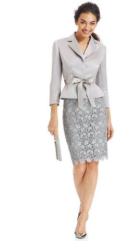 Tahari ASL Belted Jacket & Lace Skirt Suit