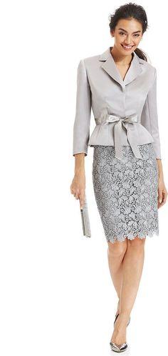 Tahari ASL Belted Jacket & Lace Skirt Suit on shopstyle.com