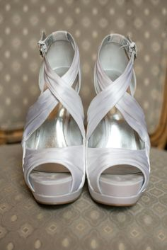 Silver, Peep-Toe Wedding Shoes | Nine West | Karen Feder Photography https://www.theknot.com/marketplace/karen-feder-photography-minneapolis-mn-264123 |