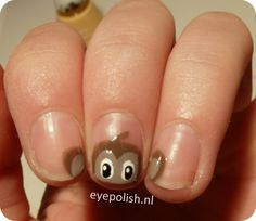 Monkey Nail Art...this would be cute on my girls!