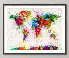 Paint Splashes Map of the World Art Print  Frame/Matte is not included. Available sizes are shown in the SELECT A SIZE drop down menu above the ADD TO CART button  This print is on superior quality semi-matte 240gsm paper. The specially coated surface enhances the color depth and contrast of the the Ultrachrome inks, which guarantee a lifetime of fade resistance.  Please note that actual colors may vary slightly due to monitor settings.  For BOX CANVAS and FRAMED PRINTS please contact me...
