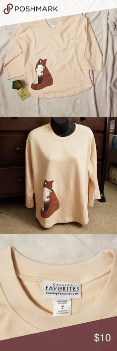 """3/$18 Fox Sweater Fox Sweater with 3/4 length sleeves Cream colored body, like new sweater Length: 25"""" Chest: 20"""" catalog favorites Sweaters Crew & Scoop Necks"""