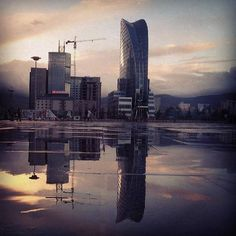 Sukhbaatar square in Ulaanbaatar, Mongolia after a rainy evening.
