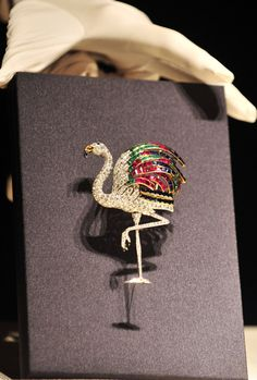 Photo taken on June 4, 2012 in the Library Building of Taipei National Palace Museum shows a flamingo-shaped brooch of the Duchess of Windsor. (Xinhua / Wu Jingteng)