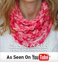 diy finger knitting crochet crocheting easy chain scarf from ruffle yarn sashay youtube video tutorial by naztazia