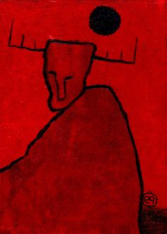 waiting for spirits e9Art ACEO Shaman Primitive Visionary Outsider Art Brut Painting Folk