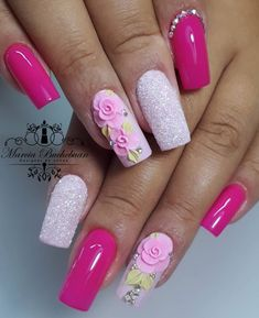 Make an original manicure for Valentine's Day - My Nails 3d Flower Nails, Flower Nail Designs, Rose Nails, Pink Nails, Nail Art Designs, My Nails, Chrome Nails Designs, Glow Nails, Birthday Nails