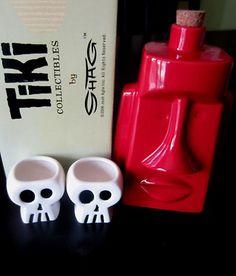 Josh Agle Shag Tiki Moai Decanter Skull Shot Glasses Retro Barware | eBay