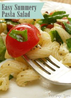 Easy Summer-y Pasta Salad Recipe - perfect for picnics or barbecues!