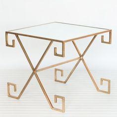 Just in! Worlds Away Athena Gold Leaf Greek Key Table Table from @Laylagrayce #zincdoor #greekkey #table