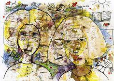 """Friendship"". 30x20 cm. Paper. Gouache. http://www.facebook.com/thecatalinalira"