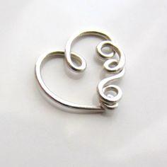 Single Silver Heart Earring for Daith Piercing by GraceEarrings