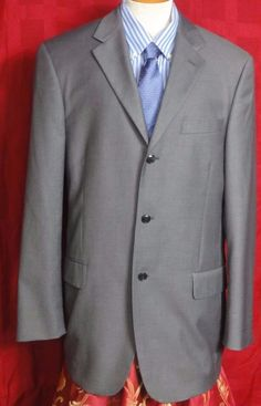 Angelo Rossi 3 Button Gray Charcoal Polyester Blend Suit Size 40L #AngeloRossi #ThreeButton