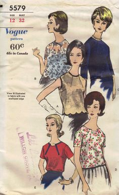 Mad Men Style 1960s Vogue Sewing Pattern Summer Blouse Short Sleeves Shirt Pullover Scalloped Hem Pleated Collar Bust 32