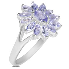 Ebay NissoniJewelry presents - Tanzanite Flower Top Fashion Ring in Sterling Silver    Model Number:FRV5247-SILTA    http://www.ebay.com/itm/Tanzanite-Flower-Top-Fashion-Ring-Sterling-Silver-/222062718045