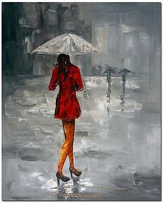 Woman with Red Dress - Hand Painted Modern Figurative Oil Painting On Canvas