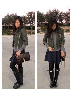 My Fashion Juice wearing black gloss Hunter Boots