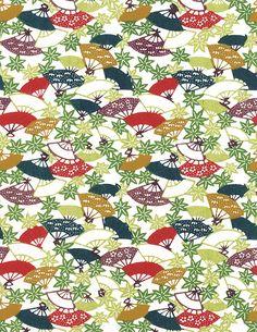 Sensu and momiji pattern on paper. #JapaneseDesign