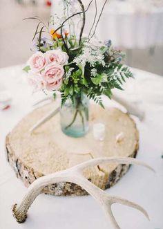 Inspirations, Antler, Wood And Floral Centerpieces: Ranch wedding of Sydne andTim Antler Wedding, Woodsy Wedding, Wedding Table, Our Wedding, Dream Wedding, Bottle Centerpieces, Floral Centerpieces, Wedding Centerpieces, Wedding Decorations