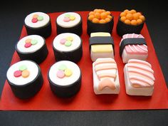 "Perfect for a sushi party, ""sushi"" cake"