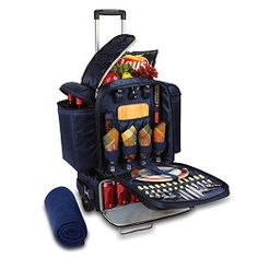 Picnic Time : The Excursion - Best Rolling Cooler/Basket there is. Best picnic investment ever. 5 of 5 stars. Picnic Items, Picnic Foods, Camping Accesorios, Picnic Basket Set, Picnic Set, Picnic Tables, Materiel Camping, Rolling Cooler, Picnic Cooler