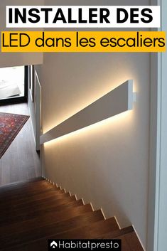 Lighting a staircase with LEDs: 5 easy and trendy ideas Stair Lighting, Exterior Lighting, Home Lighting, Exterior Stair Railing, Exterior Siding Colors, Staircase Landing, Farmhouse Floor Plans, Stairs Architecture, Glass Railing