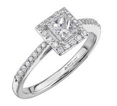 Perfectly matched with a PureWhite Gold setting, an 18ct Canadian gold and palladium alloy which allows your ring to have a bright white colour, this stunning engagement ring features a gorgeous cushion cut diamond surrounded by a square shaped halo of smaller brilliant cut stones, which is further enhanced by glittering diamonds set on the shoulders. Halo Diamond Engagement Ring, Diamond Rings, Engagement Rings, Diamond Glitter, White Gold Diamonds, Cushion Cut Diamonds, Stones, Bright, Colour