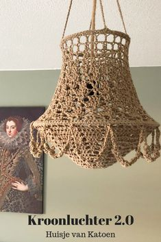 Lampe Crochet, Crochet Lampshade, Decor Crafts, Diy Home Decor, Crochet Home, Lampshades, Home Accessories, Craft Projects, Creations