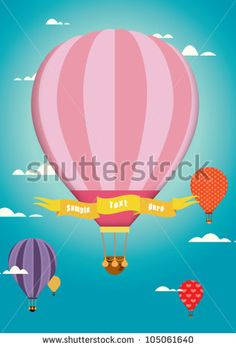 hot air balloon / cute design / colorful hot air balloon on the blue sky / template / colorful