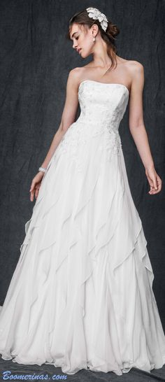 PERFECT wedding dress with floaty skirt for romantic woodland weddings. Comes in plus size from David's - read all about folk forest weddings - article) http://www.boomerinas.com/2014/10/17/woodland-wedding-dresses-ideas-for-wedding-2-or-3-or-4-or-whatever/