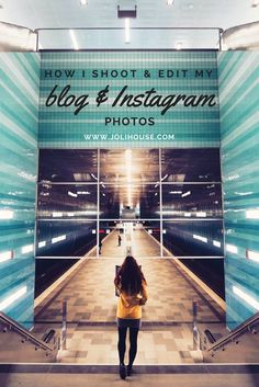 How I shoot and edit my blog and Instagram photos.  Symmetry travel photos; Instagram ideas and tips for travel bloggers; how to shoot blog photos; Instagram editing with VSCOcam and Snapseed; yellow coat outfit; Hamburg Uberseequatier subway station