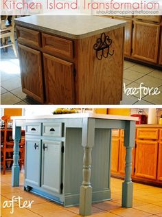 Thrify DIY kitchen island transformation.... nice b/c if long enough- could add a stool underneath, but i'd like to add a bookcase/shelving on at least one side.