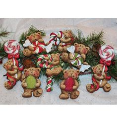 Holly Hanley's Candycane Bear Ornaments painting pattern and wood ornament shapes are now available at stockade.ca