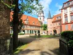 The old and pretty part of the little town of Erbach with its castle in the Odenwald region in southern Germany, between Darmstadt, Heidelberg and Würzburg